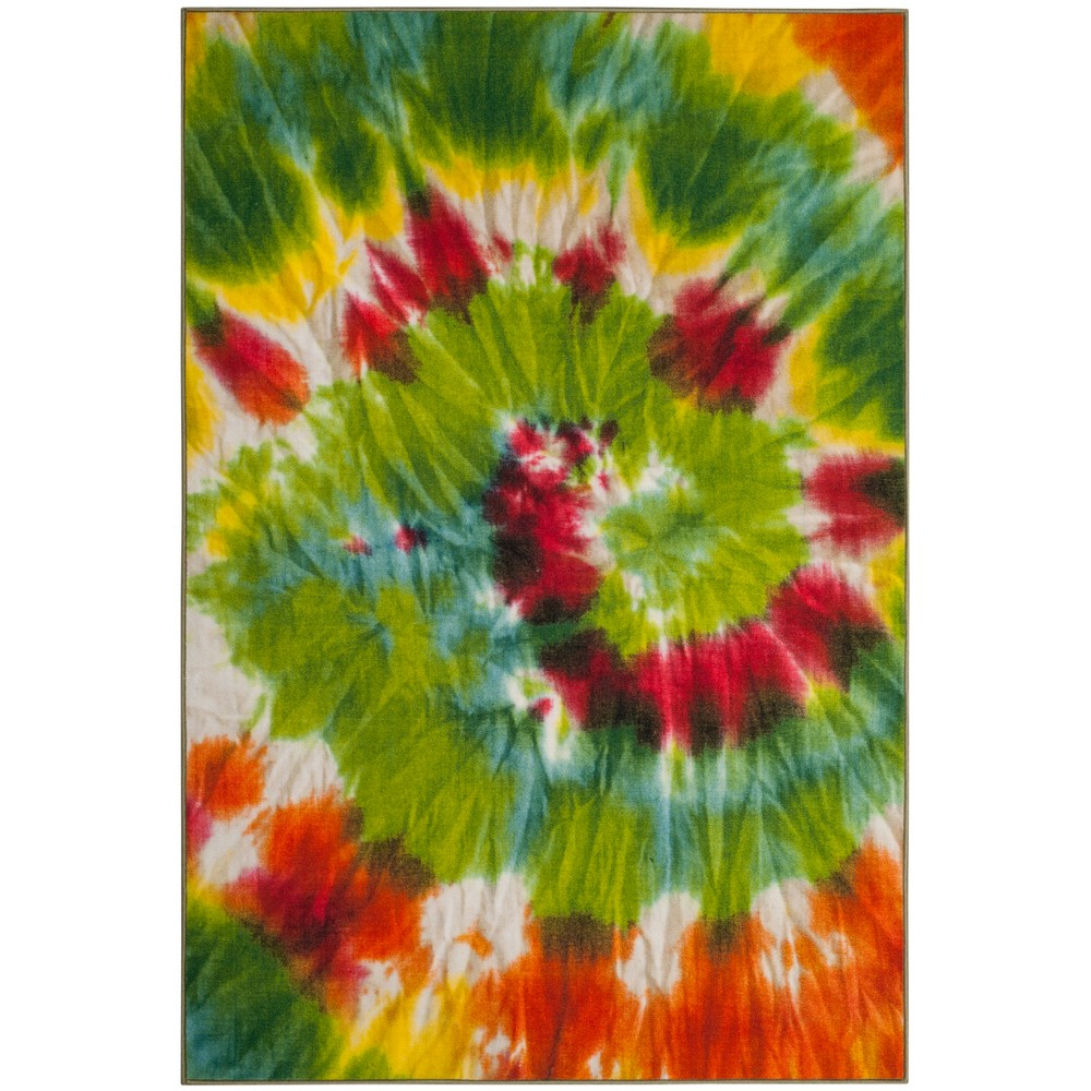 6'7X9' Loomed Tie Dye Design Area Rug Green - Safavieh