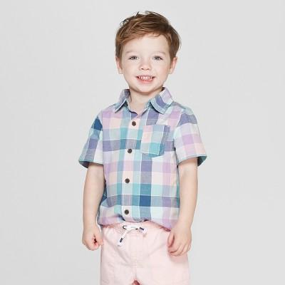 Toddler Boys' Plaid Short Sleeve Button-Down Shirt - Cat & Jack™ Blue 3T