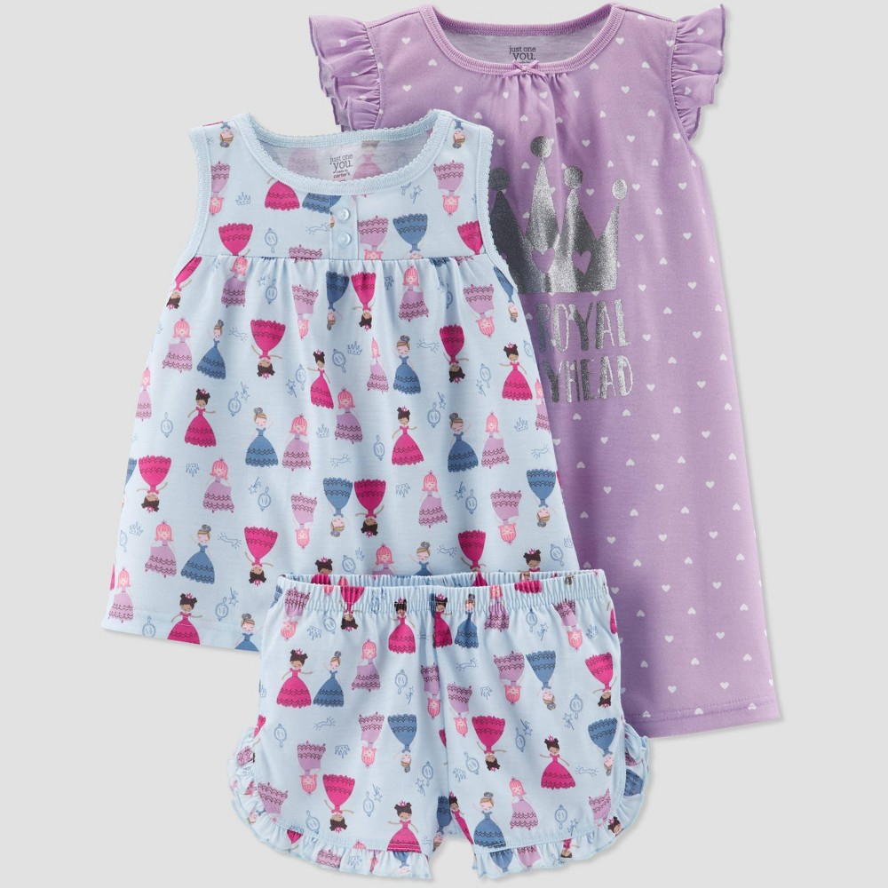 Baby Girls' 3pc Poly Princess Dot Pajama Set - Just One You made by carter's Light Blue/Violet 12M, Purple