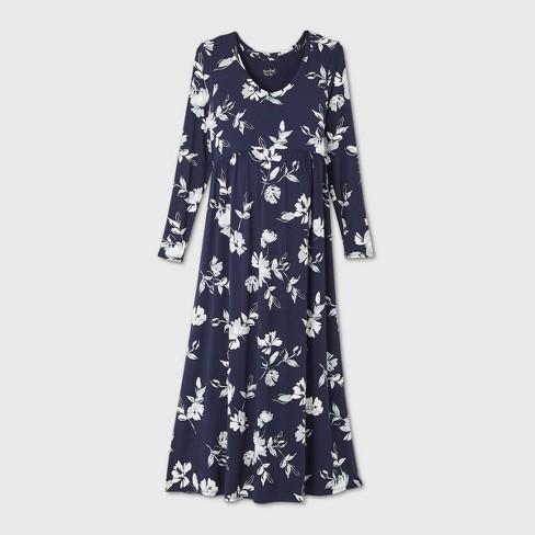 Floral Print Long Sleeve A Line Maternity Dress Isabel Maternity By Ingrid Isabel Navy L Target