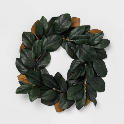 "22"" Artificial Magnolia Leaves Wreath Green   Threshold™ by Shop Collections"