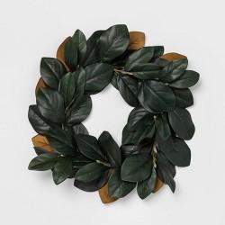 "22"" Artificial Magnolia Leaves Wreath Green - Threshold™"