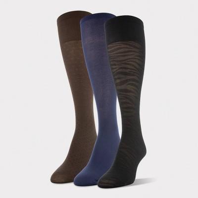 Peds Women's 3pk Light Opaque Trouser Socks -Nude/Navy/Black 5-10