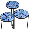 Teal Island Designs Blue Mosaic Black Iron Set of 3 Accent Tables - image 4 of 4
