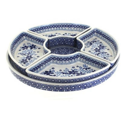 Blue Rose Polish Pottery Vintage Blue Daisy Tray with 4 Plates