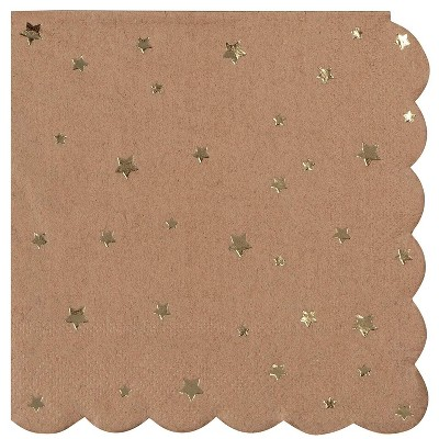 Juvale 50-Pack Scalloped Gold Stars Disposable Kraft Paper Napkins Party Supplies