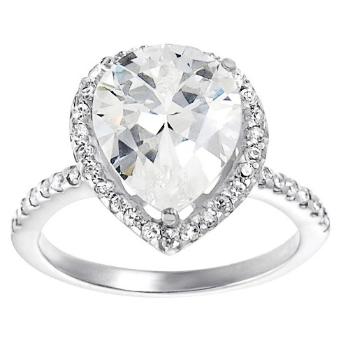 Tressa Collection Pear Cut Cubic Zirconia Pave Engagement Ring in Sterling Silver - image 1 of 4
