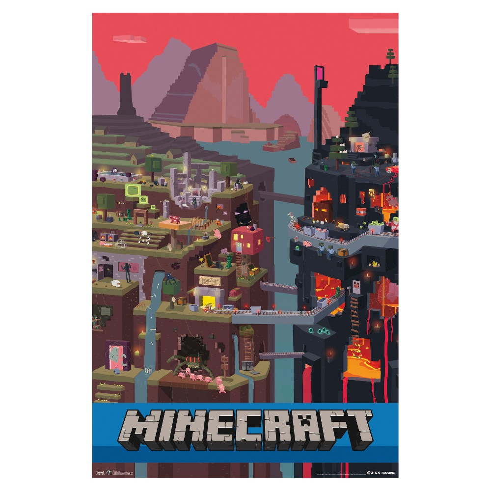 Minecraft Cube Poster 34x22 - Trends International, Multi-Colored