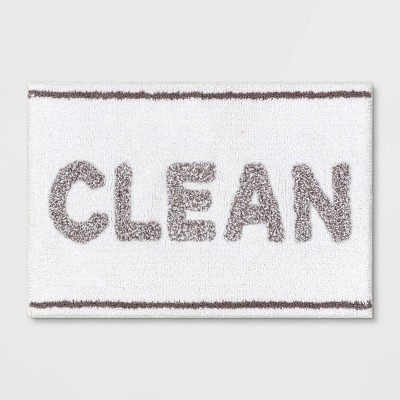 "20""x32"" Clean Tufted Bath Rug White/Gray - Room Essentials™"