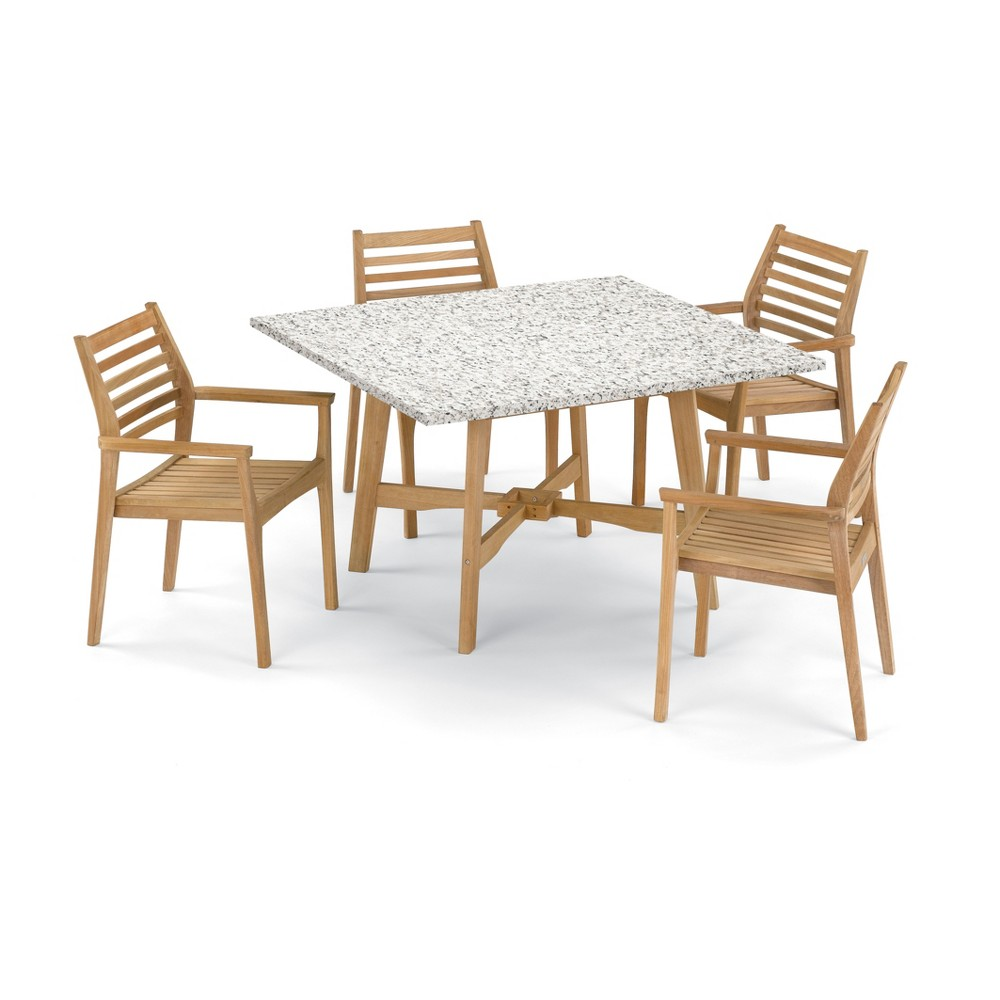 5pc Wexford 48 Dining Table & Mera Stacking Armchair Set Ash (Grey) - Oxford Garden