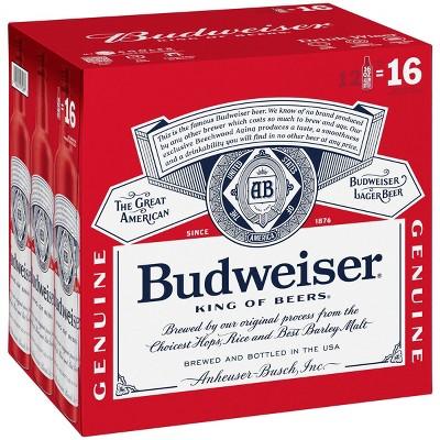 Budweiser Lager Beer - 12pk/16 fl oz Aluminum Bottles