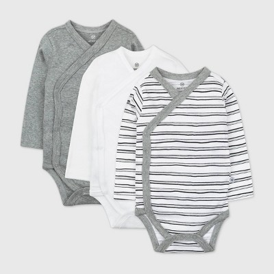 Honest Baby 3pk Sketchy Striped Organic Cotton Long Sleeve Duster Bodysuit - Black/White 3-6M