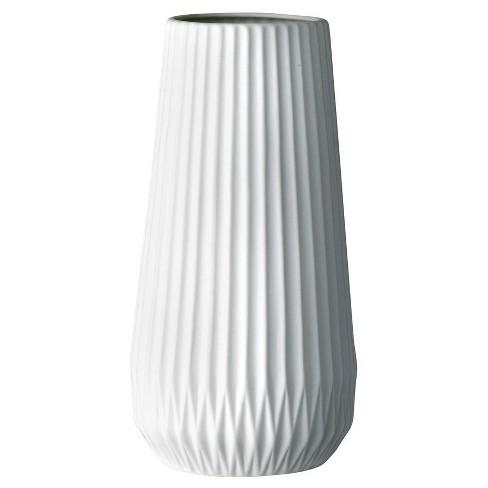 """Ceramic Fluted Vase - White (5"""") - 3R Studios - image 1 of 3"""