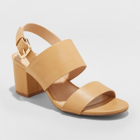 Women's Haley Two Strap City Sandal Pumps - A New Day™ Tan 6.5 - image 1 of 3