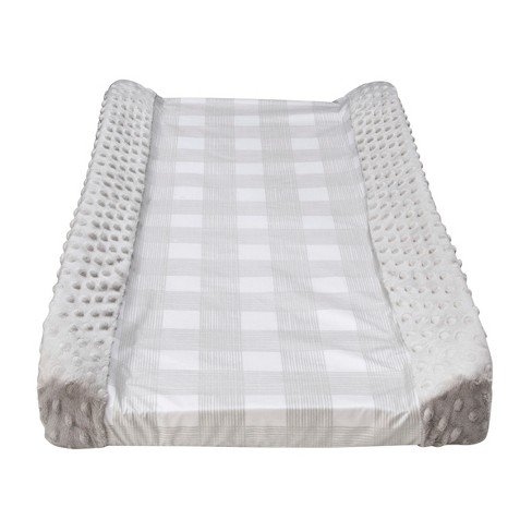 Wipeable Changing Pad Cover with Plush Sides Checkered - Cloud Island™ Gray - image 1 of 2