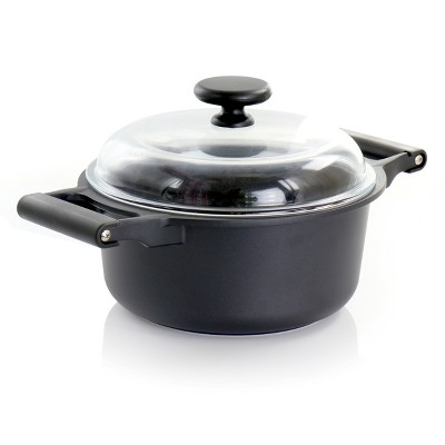 Gibson Home Venus 5 Quart Casserole with Borosilicate Glass Lid in Black