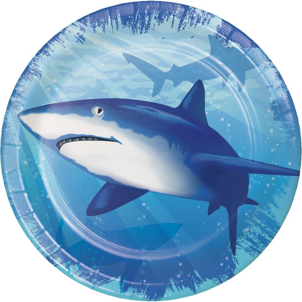 24ct Shark Splash Dessert Plates Blue