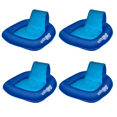 SwimWays 6060074 Spring Float SunSeat Comfortable Summertime Relaxation Lounge Seat with Cup Holder for Water Pool Lake River Beach, Blue (4 Pack)