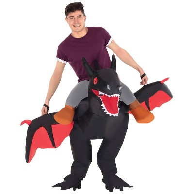 Adult Black Ride On Dragon Inflatable Halloween Costume