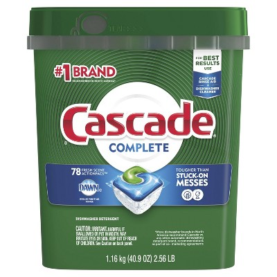 Cascade Complete Actionpacs Fresh Scented Dishwasher Detergent - 78ct