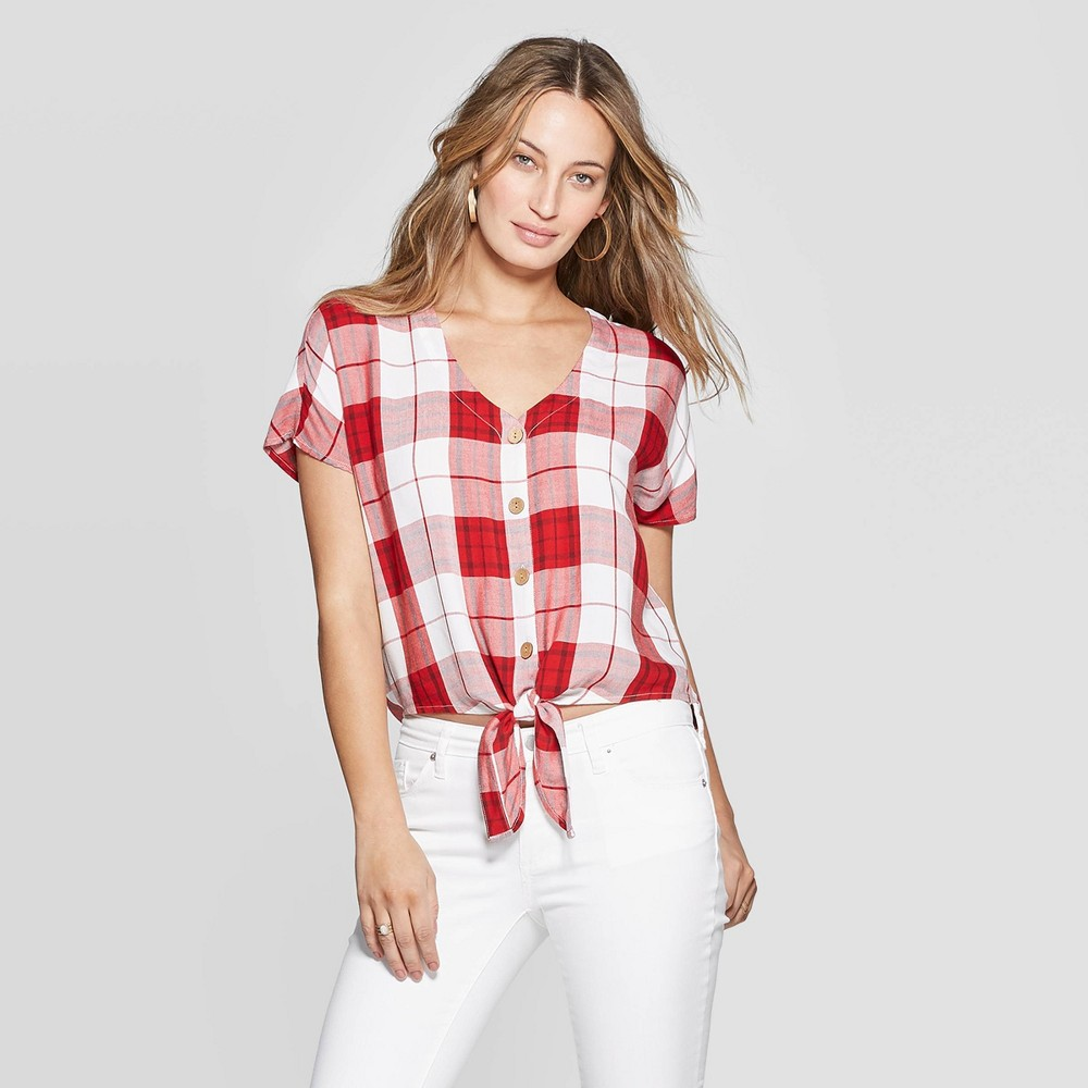 Women's Plaid Short Sleeve V-Neck Tie Front Top - Universal Thread Red L