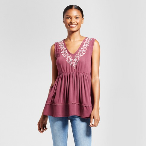 Women's Floral Embroidered Peplum Tank - Knox Rose™ Merlot - image 1 of 2