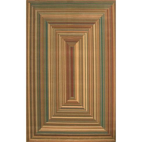 Abacasa Essentials Illusion Rust-Teal-Tan-Brown 5x8 Area Rug - Sam's International - image 1 of 1