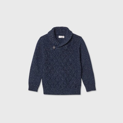 Toddler Boys' Shawl Collar Cable Pullover Sweater - Cat & Jack™ Navy 12M
