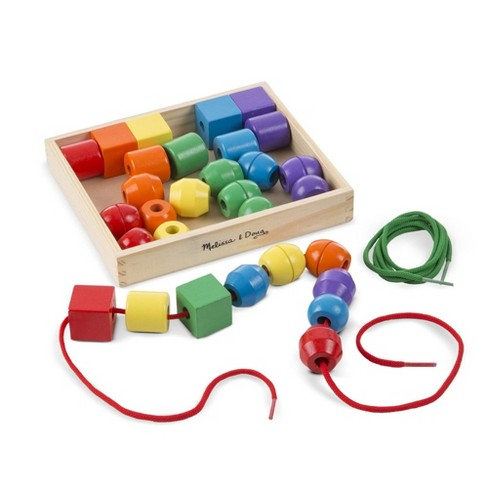 Melissa & Doug Primary Lacing Beads - Educational Toy With 30 Wooden Beads and 2 Laces - image 1 of 4