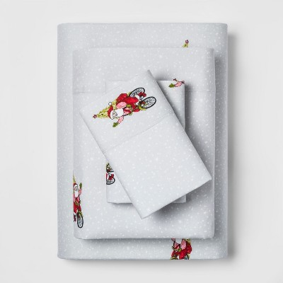 Queen Holiday Flannel Printed Sheet Set Santa Red - Threshold™