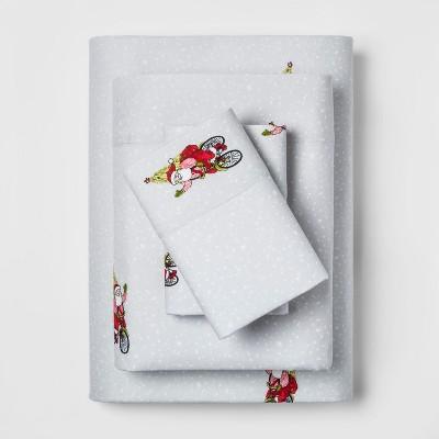 King Holiday Flannel Printed Sheet Set Santa Red - Threshold™