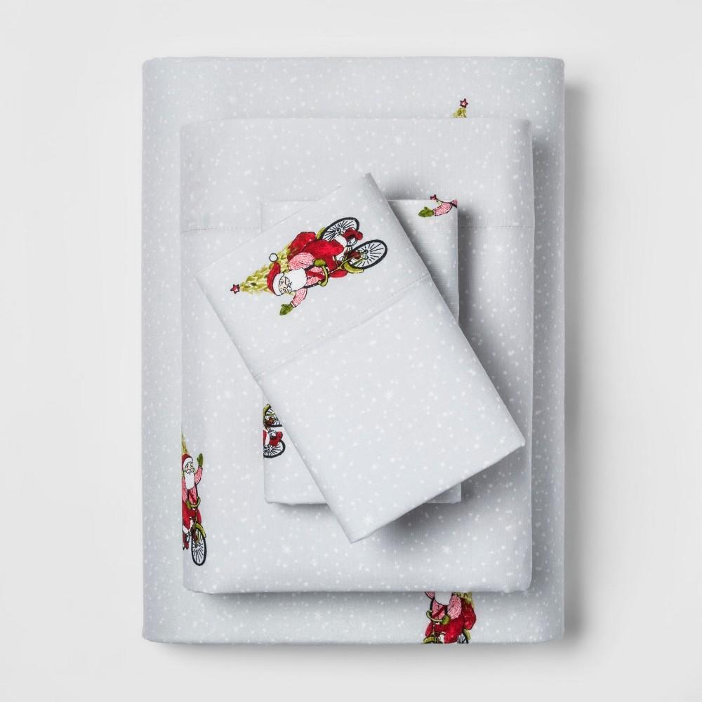 Full Holiday Flannel Printed Sheet Set Santa Red - Threshold