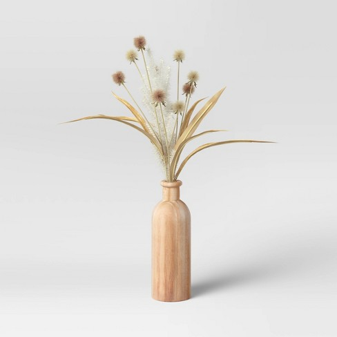 """19"""" x 7"""" Artificial Sparse Grass Arrangement in Wood Pot - Threshold™ - image 1 of 4"""