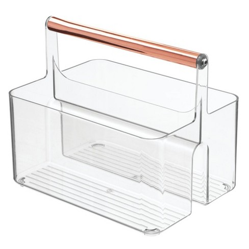 mDesign Plastic Tote, Divided Basket Bin with Metal Handle - image 1 of 4
