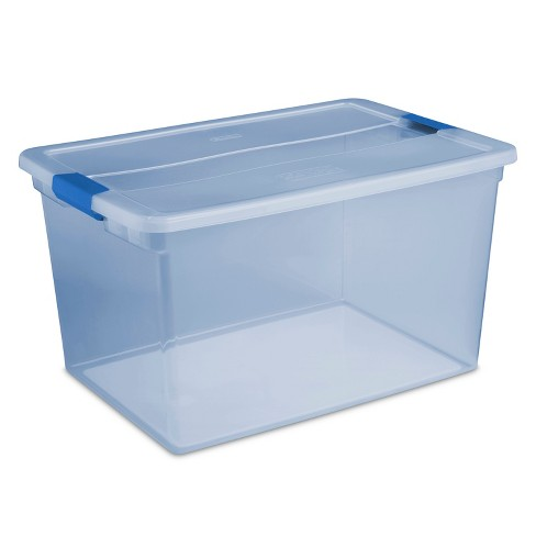 Sterilite 66 Qt ClearView Latch Box Blue Tint with Blue Latches - image 1 of 3