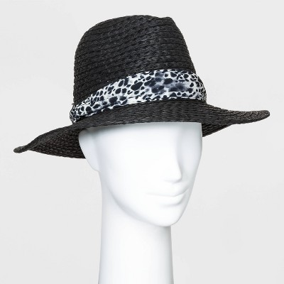 Women's Printed Band Fedora - A New Day™ Black One Size
