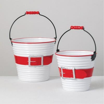 "Sullivans Set of 2 Decorative Santa Bowls 10""H & 8.25""H Red"
