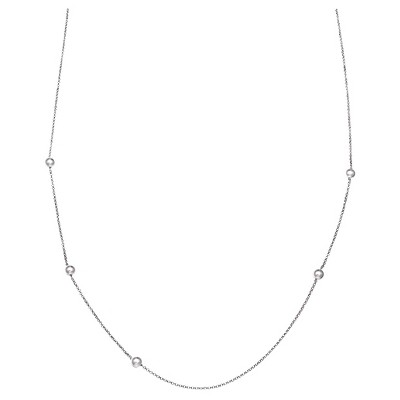 Diamond Cut Rolo Chain with Freshwater Pearl Stations in Sterling Silver - White/Gray
