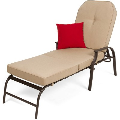 Best Choice Products Adjustable Outdoor Chaise Lounge Chair for PatioPoolside w/ UV-Resistant Cushion