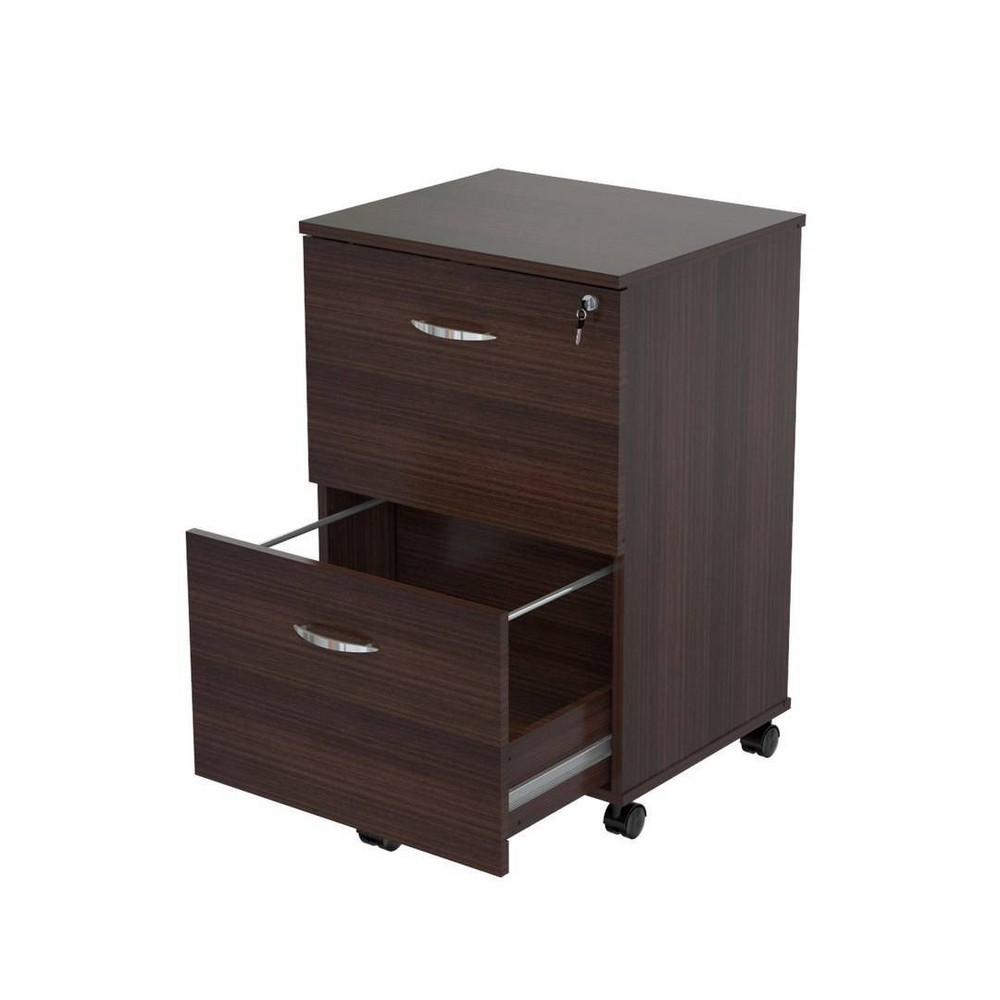 Image of 2 Drawer Locking File Cabinet Espresso - Inval