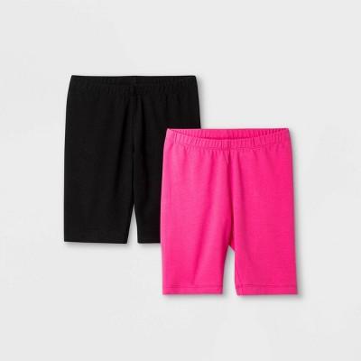 Girls' 2pk Mid-Length Bike Shorts - Cat & Jack™ Black/Pink