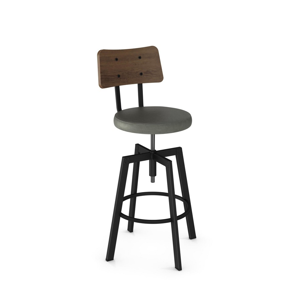 Amisco Symmetry Adjustable Stool with Gray Upholstered Seat and Wood Backrest Black Metal, Gray & Black Metal