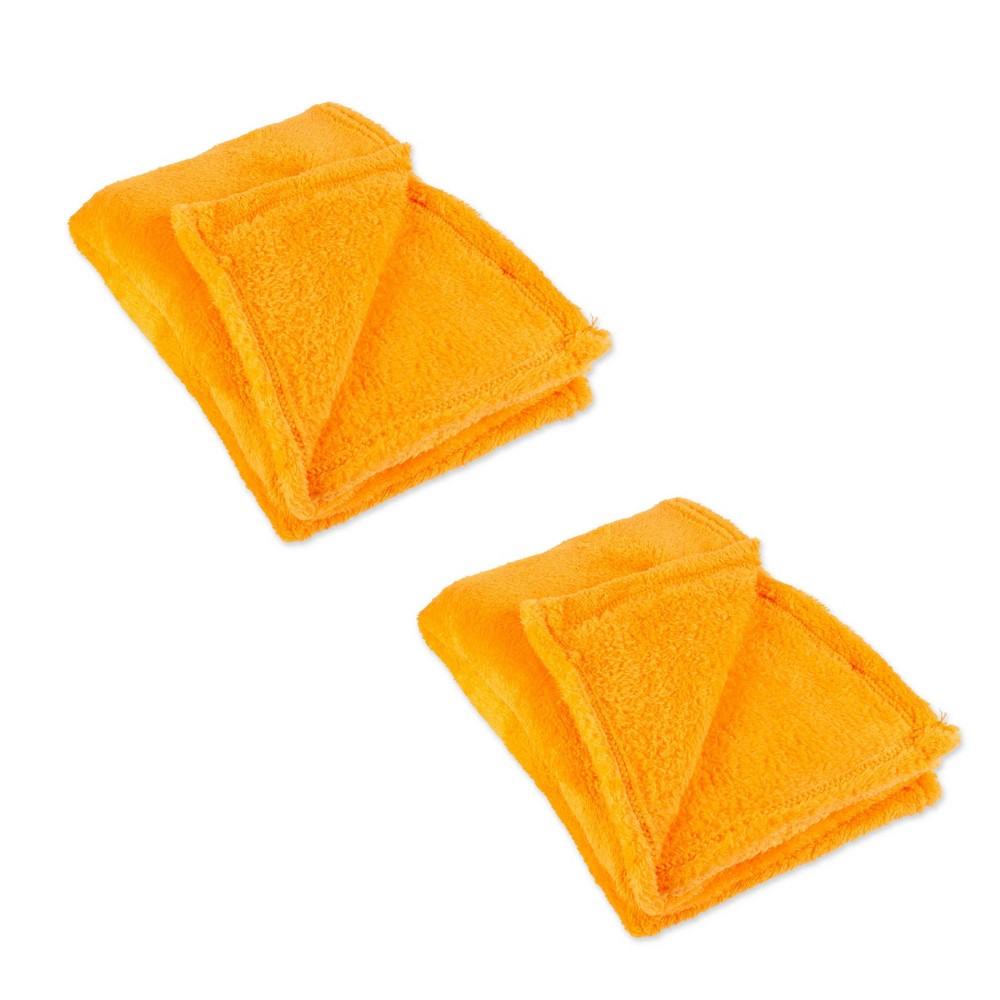 2pk 50 34 X60 34 Fuzzy Fleece Throw Blanket Orange Design Imports