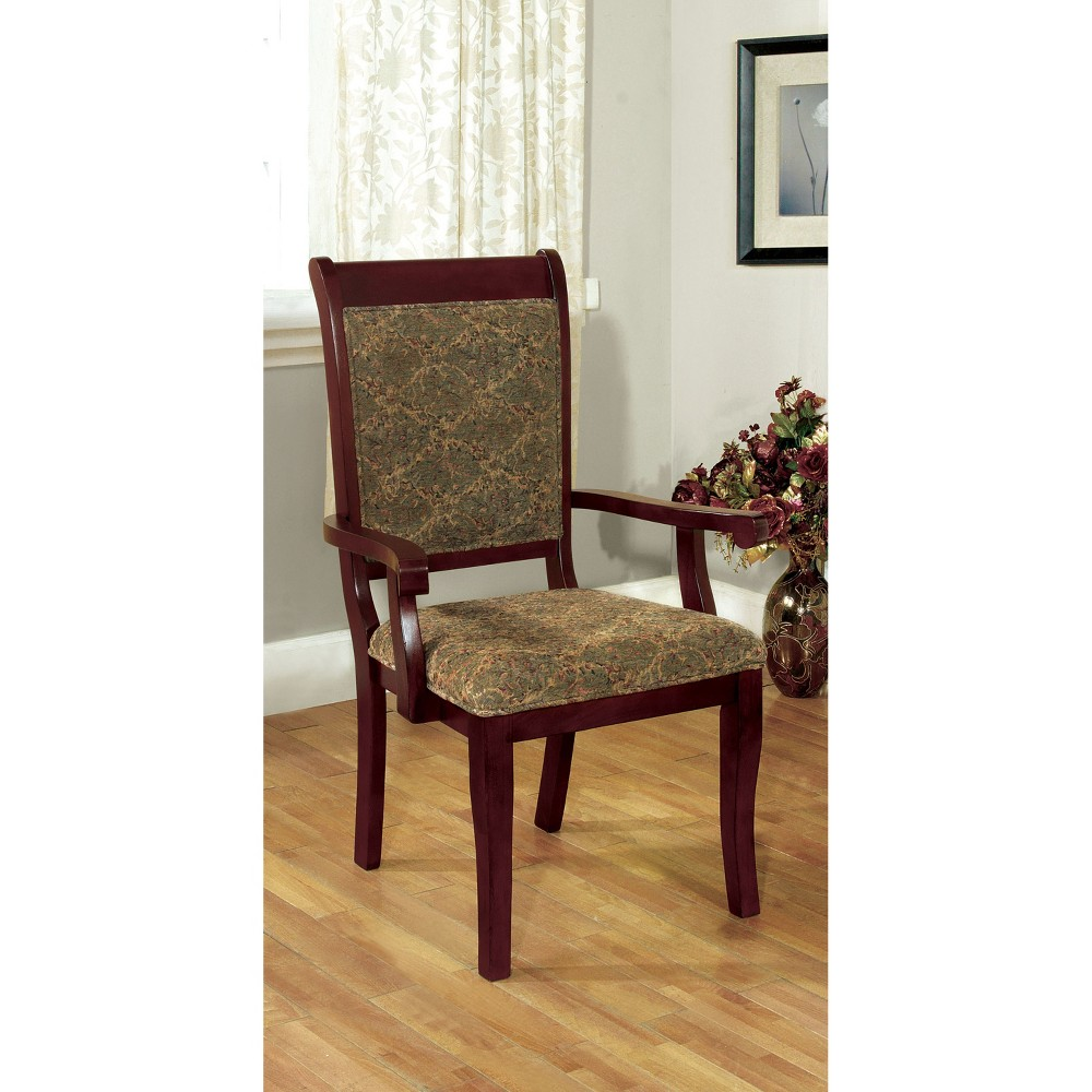 Sun & Pine Padded Fabric Wooden Frame Arm Chair Wood/Antique Cherry (Set of 2)