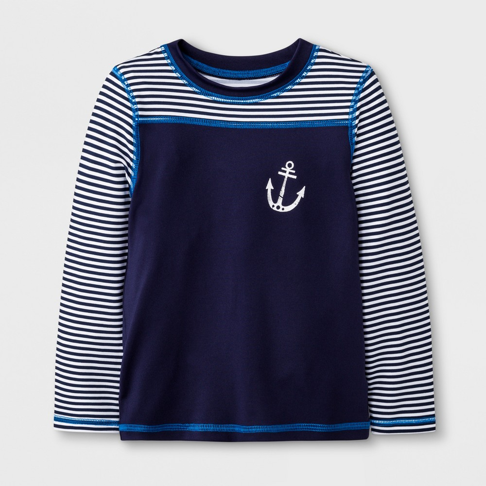 Toddler Boys' Long Sleeve Anchor Rash Guard - Cat & Jack Navy 7, Blue