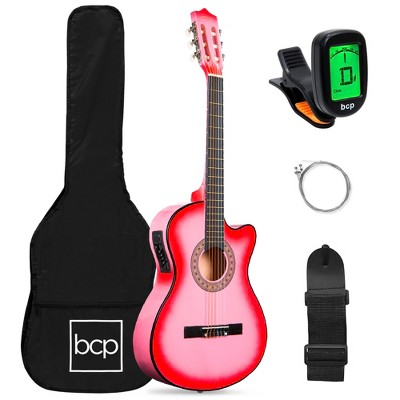 Best Choice Products Beginner Acoustic Electric Guitar Starter Set 38in w/ All Wood Cutaway Design, Case