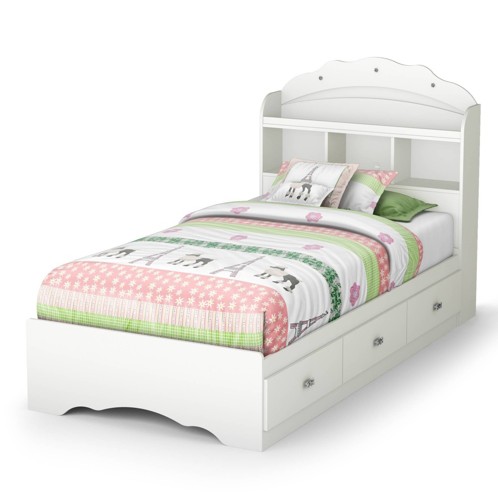 Twin Tiara Mates Bed With Bookcase Headboard Set Pure White South Shore