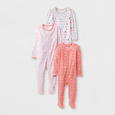 Baby Girls' 3pk Sleep N' Play Set Cloud Island™ - Pink/Coral 6-9M