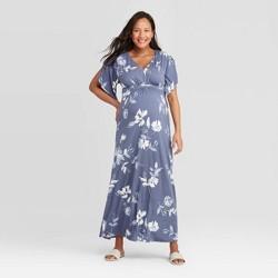 Maternity Floral Print Kimono Short Sleeve Maxi Dress - Isabel Maternity by Ingrid & Isabel™ Blue