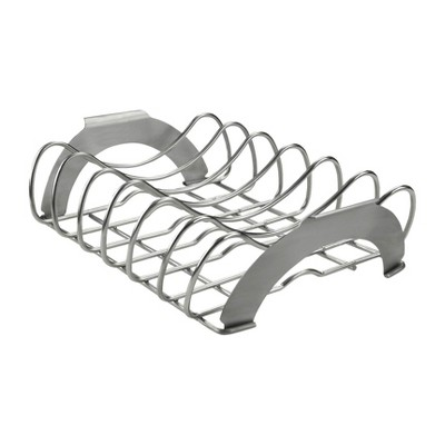 Napoleon 70009 Pro Premium Stainless Steel Rib and Roast Rack Outdoor Gas Charcoal Grill Accessory, Silver